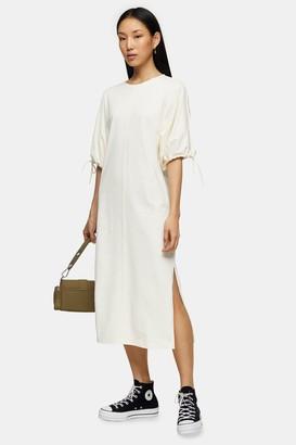 Topshop Ecru Drawstring Midi Dress
