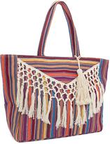 Magid Pink Stripe Crochet-Fringe Tote