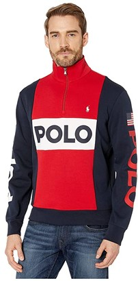 Polo Ralph Lauren Color Block Americana Double Knit Tech Sweater (RL 2000 Red Multi) Men's Clothing