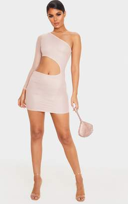 PrettyLittleThing Rose Mesh Cut Out One Shoulder Bodycon Dress