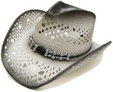 Modestone Unisex Straw Cowboy Hat Grey & Light Grey