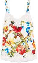 Dolce & Gabbana Lace-trimmed Floral-print Silk-blend Satin Camisole