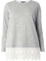 Dorothy Perkins Womens DP Curve Plus Size Grey Crochet Hem Top- Grey