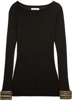 Pierre Balmain Chain-embellished Stretch-jersey Top - Charcoal