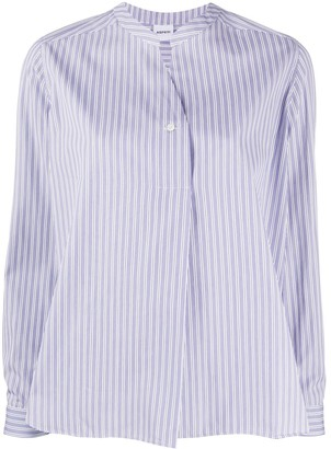 Aspesi Mandarin Collar Striped Shirt