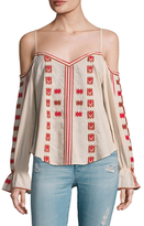 Love Sam Cotton Embroidered Cold Shoulder Blouse