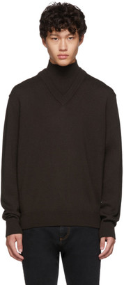 BOSS Brown Virgin Wool B-Curator Mock Neck Sweater