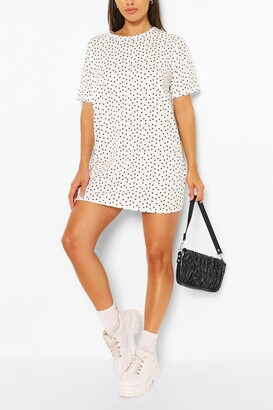boohoo Petite Polka Dot Print T-Shirt Dres