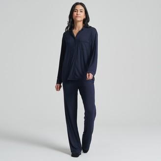 Naadam Women's Long Sleeve Tee-Pajama Pant Set Navy/Black