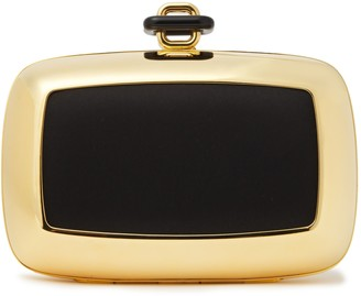 Roger Vivier Satin-paneled Gold-tone Clutch