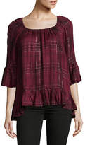 Style And Co. Petite Plaid Ruffle Blouse