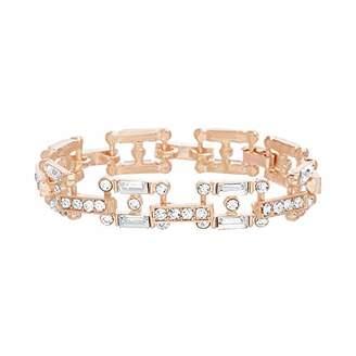 Steve Madden Women's Rhinestone Square Link Gold-Tone Bracelet