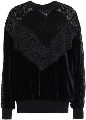 Stella McCartney Corded Lace-paneled Velvet Sweatshirt