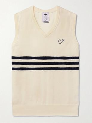 adidas Consortium - Human Made Logo-Embroidered Striped Cotton Sweater Vest - Men - Neutrals