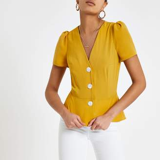 River Island Womens Yellow button front tea top