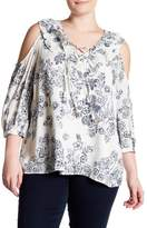 Blu Pepper Cold Shoulder Ruffle Floral Blouse (Plus Size)