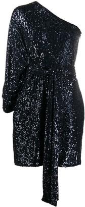 Dundas Draped One-Shoulder Beaded Dress