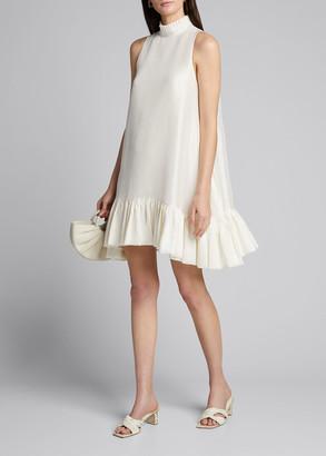 Azeeza Alcott High-Neck Flounce Dress