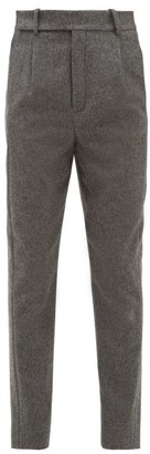 Saint Laurent Tailored High Rise Wool Trousers - Womens - Grey