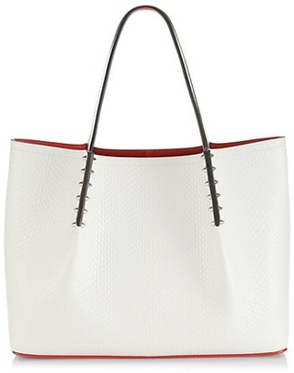 Christian Louboutin Small Cabarock Spiked Snakeskin-Embossed Leather Tote