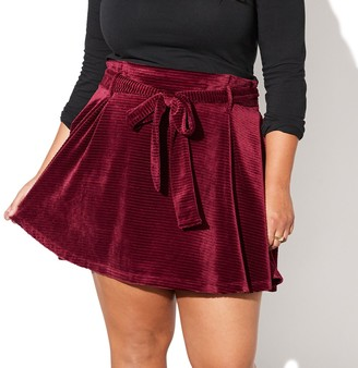 Juniors' Plus Size Vylette Belted Paperbag Skirt