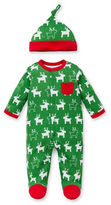 Offspring Reindeer Two-Piece Footie and Beanie Set