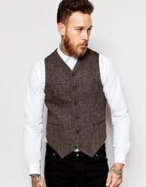 Asos Slim Waistcoat In Harris Tweed In 100% Wool