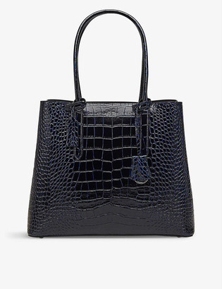 Smythson Mara Ciappa crocodile-embossed leather business bag