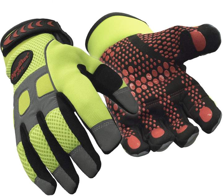 Refrigiwear Men's Insulated HiVis Super Grip Performance Gloves Reflective with Silicone Grip Dots (High Visibility Lime,)