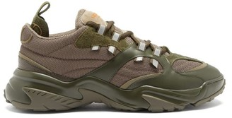 Valentino Afterdusk Leather And Mesh Trainers - Khaki