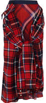 Sacai Tie-front Tartan Cotton-flannel Midi Skirt - Crimson