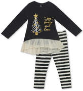 Rare Editions 2-Pc. Knit Holiday Tunic and Striped Leggings Set, Baby Girls (0-24 months)