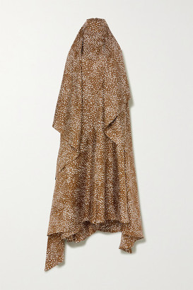 Petar Petrov Abril Draped Printed Silk-twill Halterneck Jumpsuit - Bronze