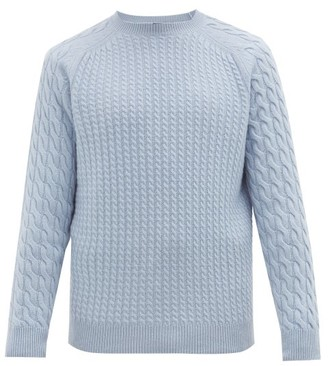 Dunhill Cable-knit Cashmere Sweater - Mens - Light Blue