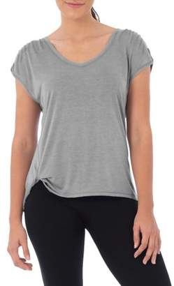 Athletic Works Women's Athleisure Shirred Sleeve T-Shirt with Side Knot