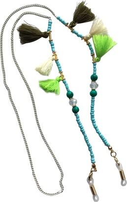 Eyewearstraps NEW Funky Turquoise & White Tassel Beaded Glasses Sunglasses Chain Strap Cord Holder Long Length
