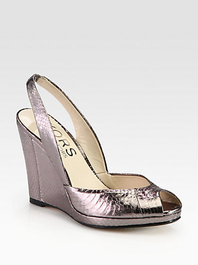 KORS Vivian Snake-Print Metallic Leather Slingback Wedges