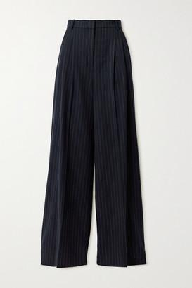Joseph Tima Pinstriped Wool-blend Flannel Wide-leg Pants - Navy