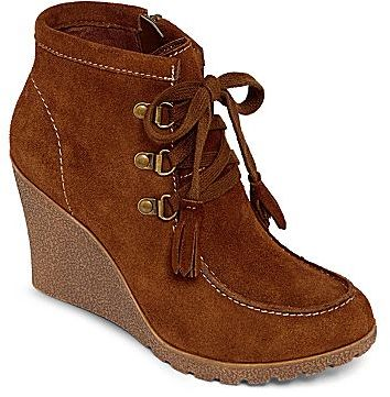 JCPenney MIA girlTM Brisk Lace-Up Wedge Booties