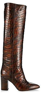 Paris Texas Women's Croc-Embossed Patent Leather Point-Toe Tall Boots
