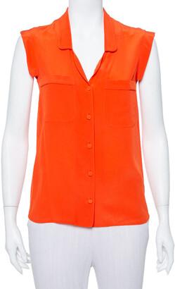 Gucci Orange Silk Sleeveless Shirt S