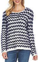 CeCe Zigzag Eyelash Crewneck Sweater