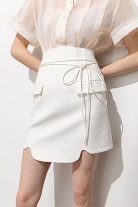 J.ING Ellory White Belted Pocket Mini Skirt