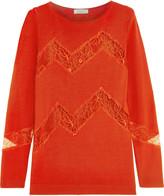 Nina Ricci Lace-paneled wool and cashmere-blend sweater