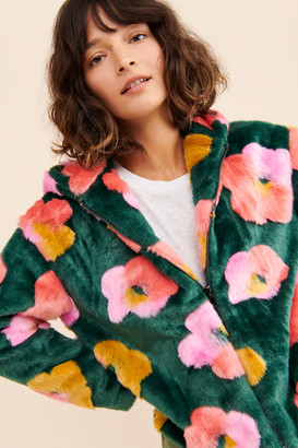 Glamorous Flower Faux-Fur Jacket
