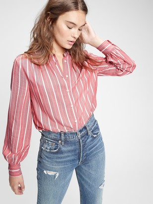 Gap Shirred Button-Front Top