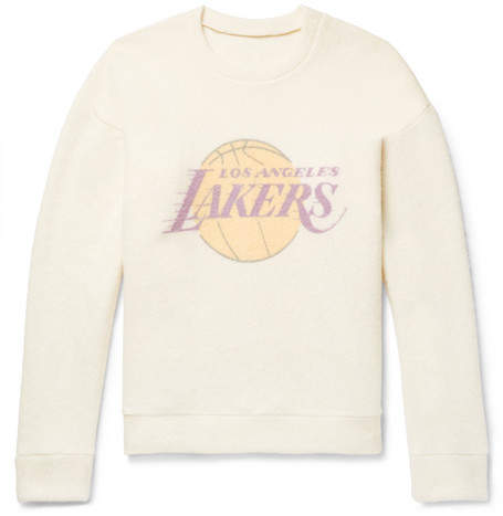 The Elder Statesman + Nba Los Angeles Lakers Printed Brushed-Cashmere Sweatshirt