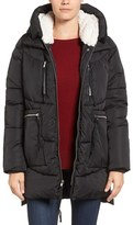 Steve Madden Women's Hooded Puffer Jacket With Faux Shearling Trim