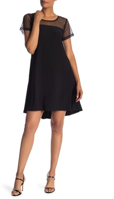 Nina Leonard Illusion Neck High/Low Shift Dress