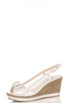 Quiz Silver Shimmer Bow Sling Back Wedges